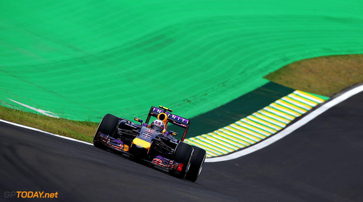 SAO PAULO, BRAZIL - NOVEMBER 07:  Daniel Ricciardo of Australia and Infiniti Red Bull Racing drives during practice ahead of the Brazilian Formula One Grand Prix at Autodromo Jose Carlos Pace on November 7, 2014 in Sao Paulo, Brazil.  (Photo by Clive Mason/Getty Images) *** Local Caption *** Daniel Ricciardo F1 Grand Prix of Brazil - Practice Clive Mason Sao Paulo Brazil  forumla one racing Interlagos