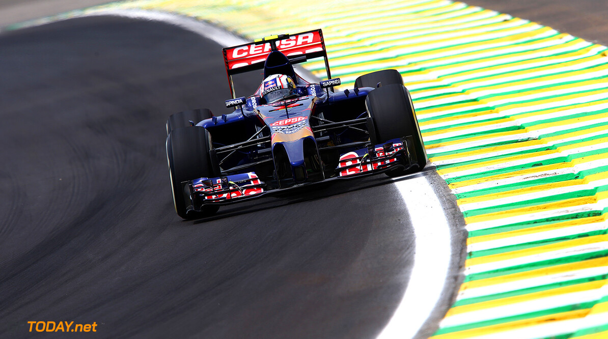 SAO PAULO, BRAZIL - NOVEMBER 07:  Daniil Kvyat of Russia and Scuderia Toro Rosso drives during practice ahead of the Brazilian Formula One Grand Prix at Autodromo Jose Carlos Pace on November 7, 2014 in Sao Paulo, Brazil.  (Photo by Mark Thompson/Getty Images) *** Local Caption *** Daniil Kvyat F1 Grand Prix of Brazil - Practice Mark Thompson Sao Paulo Brazil  forumla one racing Interlagos