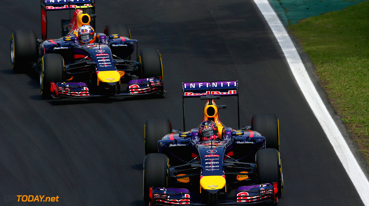 SAO PAULO, BRAZIL - NOVEMBER 09:  Sebastian Vettel of Germany and Infiniti Red Bull Racing leads Daniel Ricciardo of Australia and Infiniti Red Bull Racing during the Brazilian Formula One Grand Prix at Autodromo Jose Carlos Pace on November 9, 2014 in Sao Paulo, Brazil.  (Photo by Clive Mason/Getty Images) *** Local Caption *** Sebastian Vettel;Daniel Ricciardo F1 Grand Prix of Brazil Clive Mason Sao Paulo Brazil  forumla one racing Interlagos