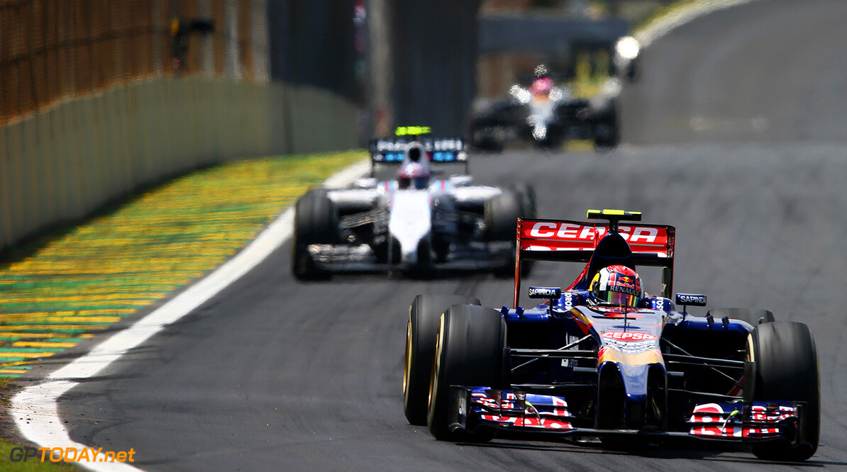 SAO PAULO, BRAZIL - NOVEMBER 09:  Daniil Kvyat of Russia and Scuderia Toro Rosso drives during the Brazilian Formula One Grand Prix at Autodromo Jose Carlos Pace on November 9, 2014 in Sao Paulo, Brazil.  (Photo by Mark Thompson/Getty Images) *** Local Caption *** Daniil Kvyat F1 Grand Prix of Brazil Mark Thompson Sao Paulo Brazil  forumla one racing Interlagos