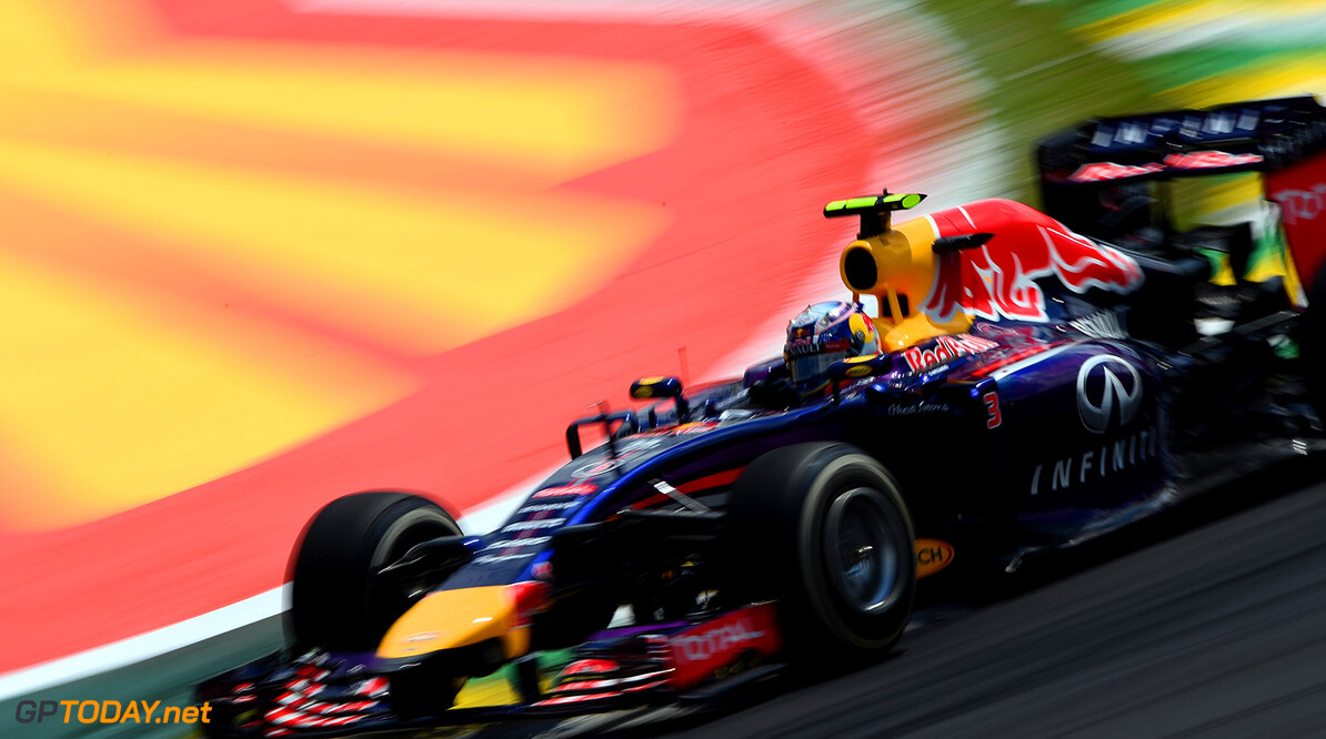 SAO PAULO, BRAZIL - NOVEMBER 09:  Daniel Ricciardo of Australia and Infiniti Red Bull Racing drives during the Brazilian Formula One Grand Prix at Autodromo Jose Carlos Pace on November 9, 2014 in Sao Paulo, Brazil.  (Photo by Paul Gilham/Getty Images) *** Local Caption *** Daniel Ricciardo F1 Grand Prix of Brazil Paul Gilham Sao Paulo Brazil  forumla one racing Interlagos