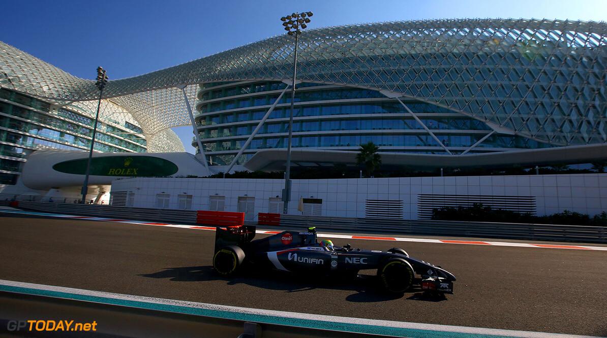 Abu Dhabi GP Friday 21/11/14 Esteban Gutierrez (MEX), Sauber F1 Team. Yas Marina Circuit.  Abu Dhabi GP Friday 21/11/14 Jean Francois Galeron Abu Dhabi United Arab Emirates  F1 Formula One 2014 action Gutierrez Sauber