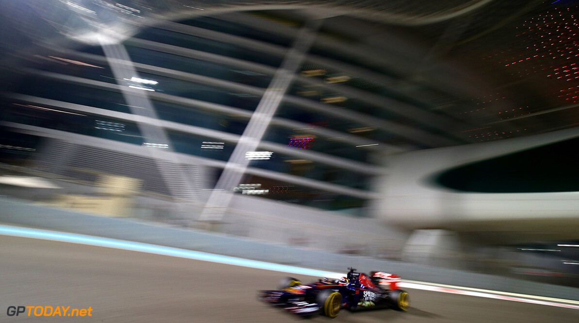 ABU DHABI, UNITED ARAB EMIRATES - NOVEMBER 21:  Jean-Eric Vergne of France and Scuderia Toro Rosso drives during practice ahead of the Abu Dhabi Formula One Grand Prix at Yas Marina Circuit on November 21, 2014 in Abu Dhabi, United Arab Emirates.  (Photo by Clive Rose/Getty Images) *** Local Caption *** Jean-Eric Vergne F1 Grand Prix of Abu Dhabi - Practice Clive Rose Abu Dhabi United Arab Emirates  formula one racing