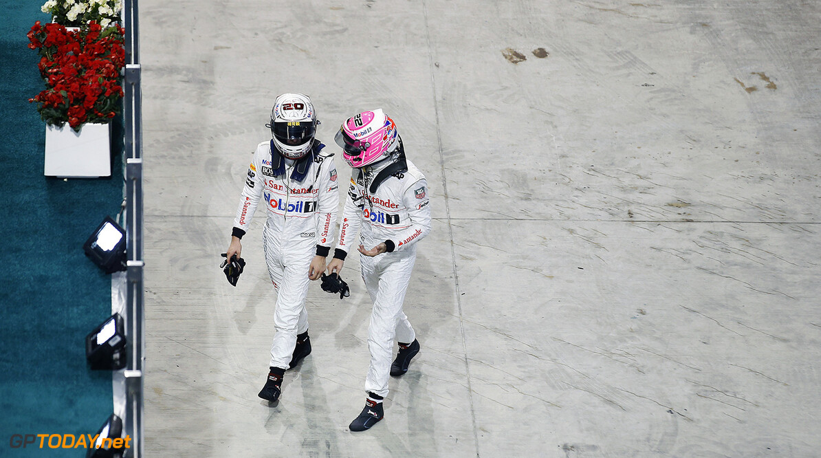 Jenson Button with Kevin Magnussen after the race.