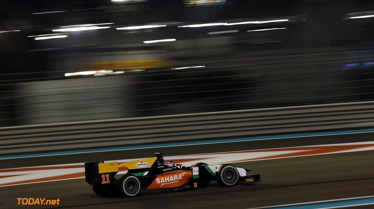2014 GP2 Series. Round 11.   Yas Marina Circuit, Abu Dhabi, United Arab Emirates. Saturday 22 November 2014. Nicholas Latifi (CAN, Hilmer Motorsport)  Photo: Sam Bloxham/GP2 Series Media Service. ref: Digital Image _G7C1145   Sam Bloxham    Race One 1 Feature