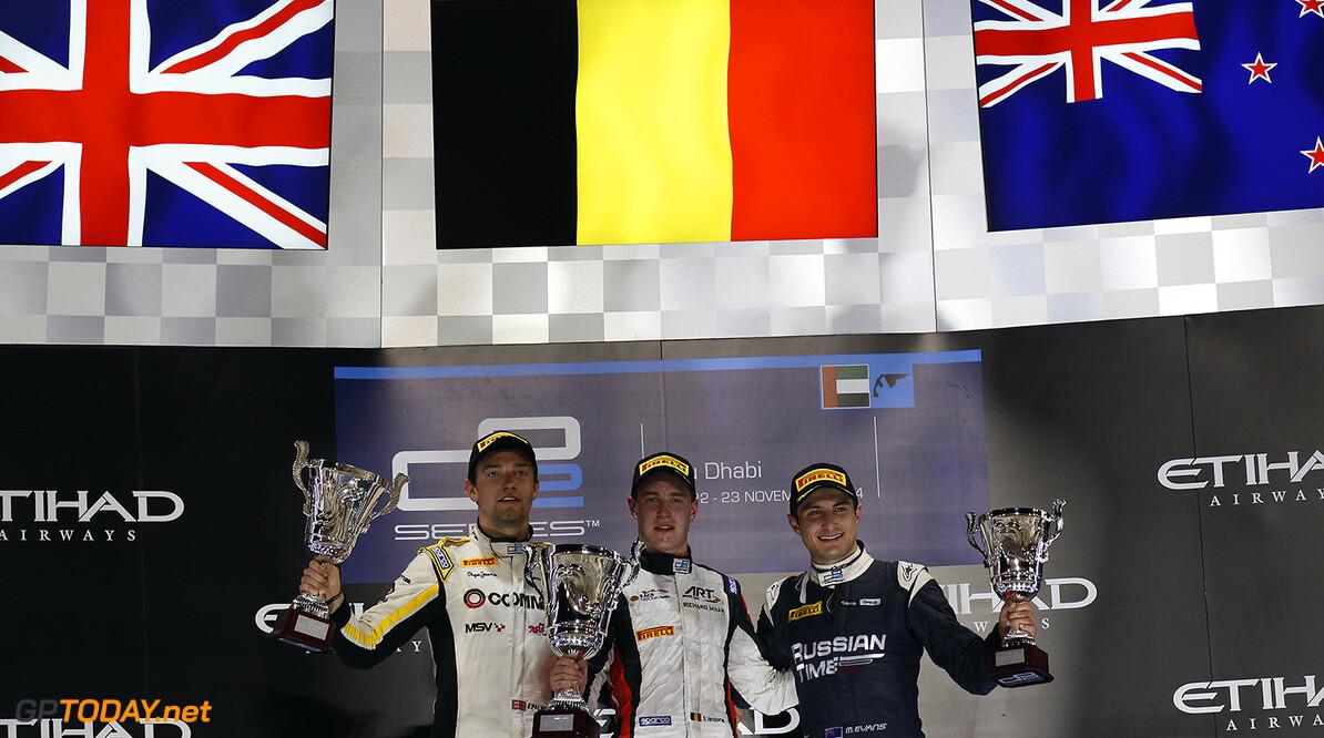 2014 GP2 Series. Round 11.   Yas Marina Circuit, Abu Dhabi, United Arab Emirates. Saturday 22 November 2014. Stoffel Vandoorne (BEL, ART Grand Prix), Jolyon Palmer (GBR, DAMS) & Mitch Evans (NZL, RT RUSSIAN TIME)  Photo: Sam Bloxham/GP2 Series Media Service. ref: Digital Image _G7C1493   Sam Bloxham    Race One 1 Feature