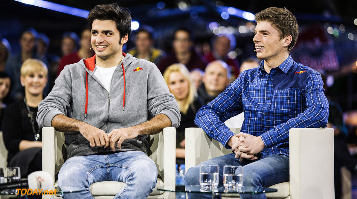 Carlos Sainz Jr. and Max Verstappen are interviewed on ServusTV's Sport und Talk in Hangar 7, Salzburg, Austria on December 1st, 2014 // David Robinson/Red Bull Content Pool // P-20141202-00758 // Usage for editorial use only // Please go to www.redbullcontentpool.com for further information. //  Carlos Sainz Jr., Max Verstappen - Lifestyle David Robinson    P-20141202-00758