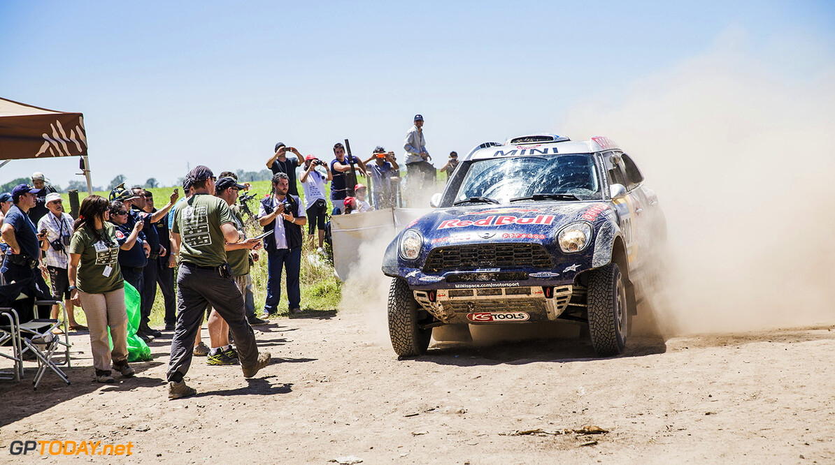 Nasser Al-Attiyah at finish line stage 1 of Rally Dakar 2015 from Buenos Aires to Villa Carlos Paz on January 4th, 2015 // Flavien Duhamel/Red Bull Content Pool // P-20150104-00151 // Usage for editorial use only // Please go to www.redbullcontentpool.com for further information. //  Nasser Al-Attiyah - Action Flavien Duhamel    P-20150104-00151