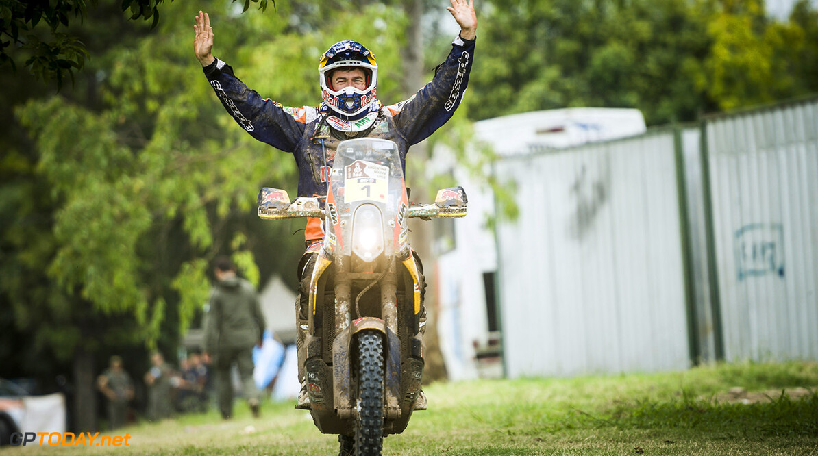 Marc Coma celebrates his win at the finish line of Rally Dakar 2015 in Baradero, Argentina on January 17th, 2015 // Marcelo Maragni/Red Bull Content Pool // P-20150117-00042 // Usage for editorial use only // Please go to www.redbullcontentpool.com for further information. //  Marc Coma - Winner     P-20150117-00042