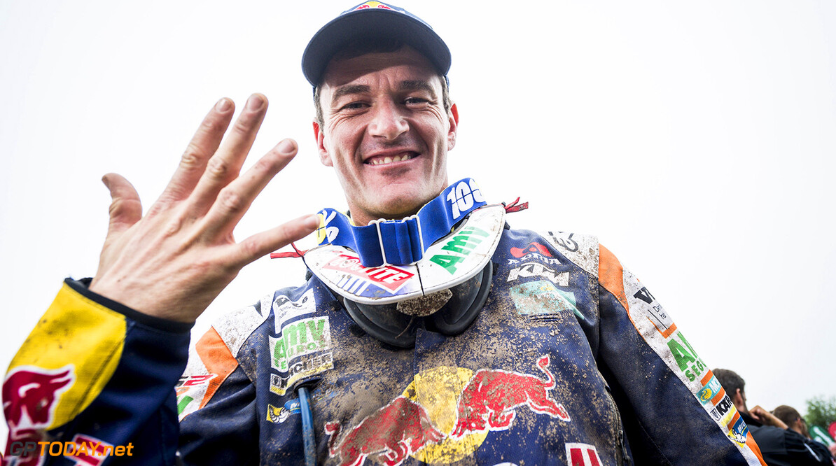 Marc Coma celebrates his win at the finish line of Rally Dakar 2015 in Baradero, Argentina on January 17th, 2015 // Marcelo Maragni/Red Bull Content Pool // P-20150117-00045 // Usage for editorial use only // Please go to www.redbullcontentpool.com for further information. //  Marc Coma - Winner     P-20150117-00045