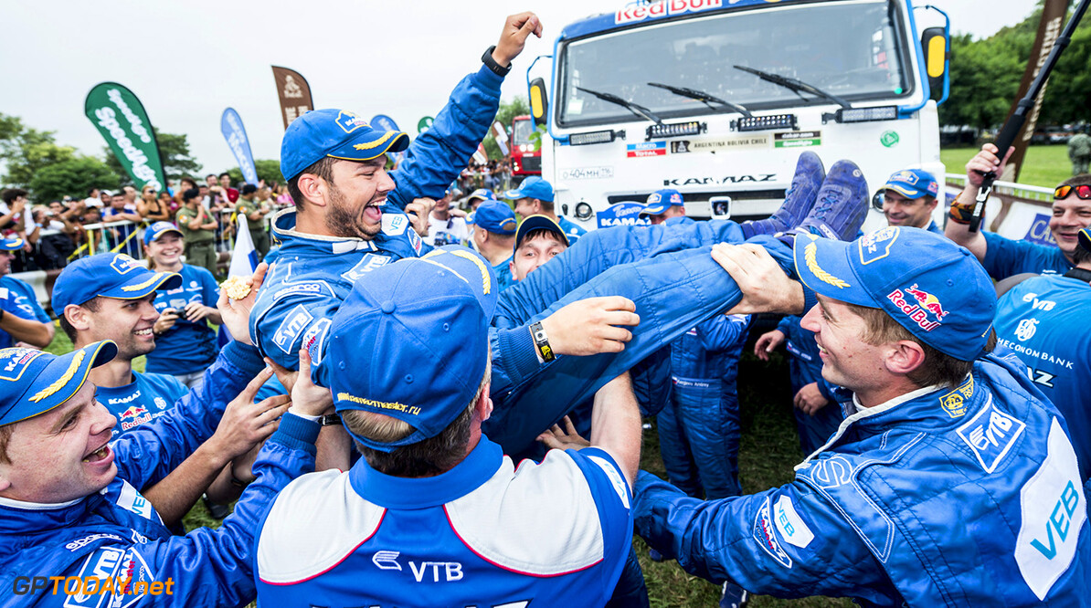 Ayrat Mardeev celebrates his win at the finish line of Rally Dakar 2015 in Baradero, Argentina on January 17th, 2015 // Marcelo Maragni/Red Bull Content Pool // P-20150117-00046 // Usage for editorial use only // Please go to www.redbullcontentpool.com for further information. //  Ayrat Mardeev - Winner     P-20150117-00046