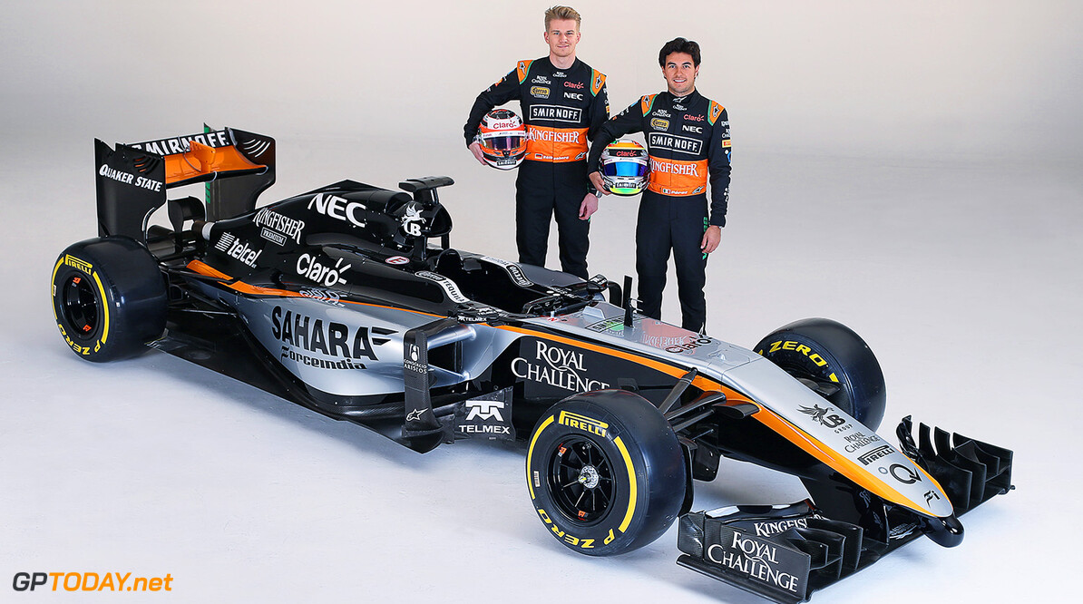 Sahara Force India F1 Team Livery Launch (L to R): Nico Hulkenberg (GER) Sahara Force India F1 with team mate Sergio Perez (MEX) Sahara Force India F1.