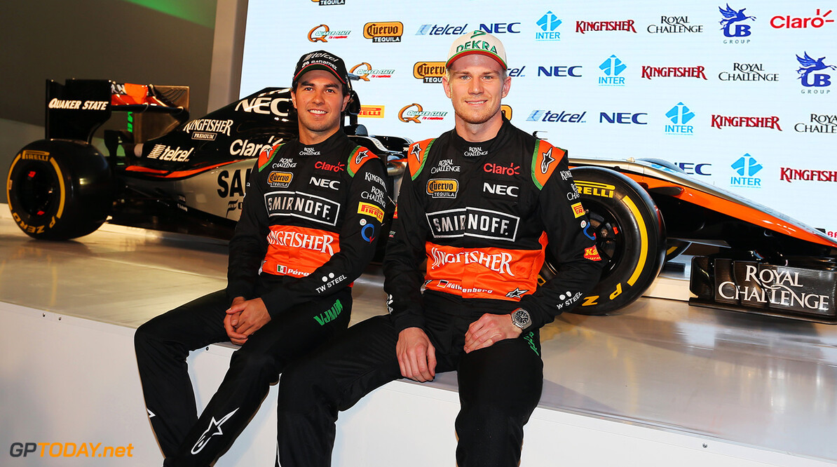 Sahara Force India F1 Team Livery Reveal (L to R): Sergio Perez (MEX) Sahara Force India F1 with team mate Nico Hulkenberg (GER) Sahara Force India F1.