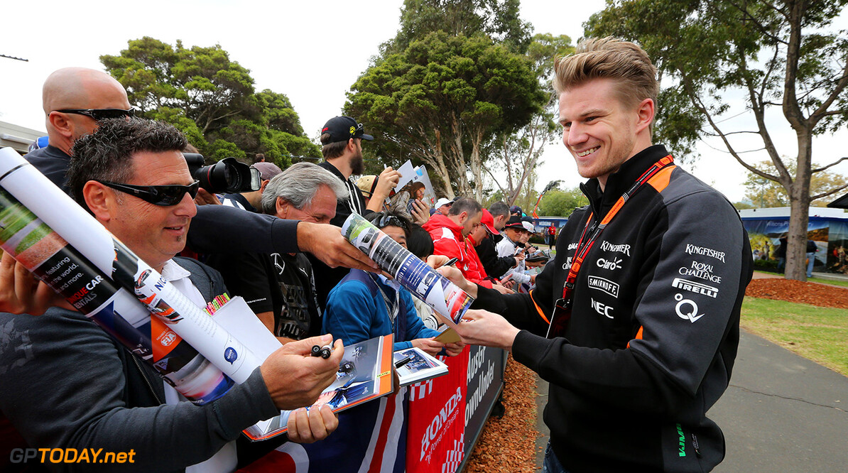 Formula One World Championship Nico Hulkenberg (GER) Sahara Force India F1 signs autographs for the fans.