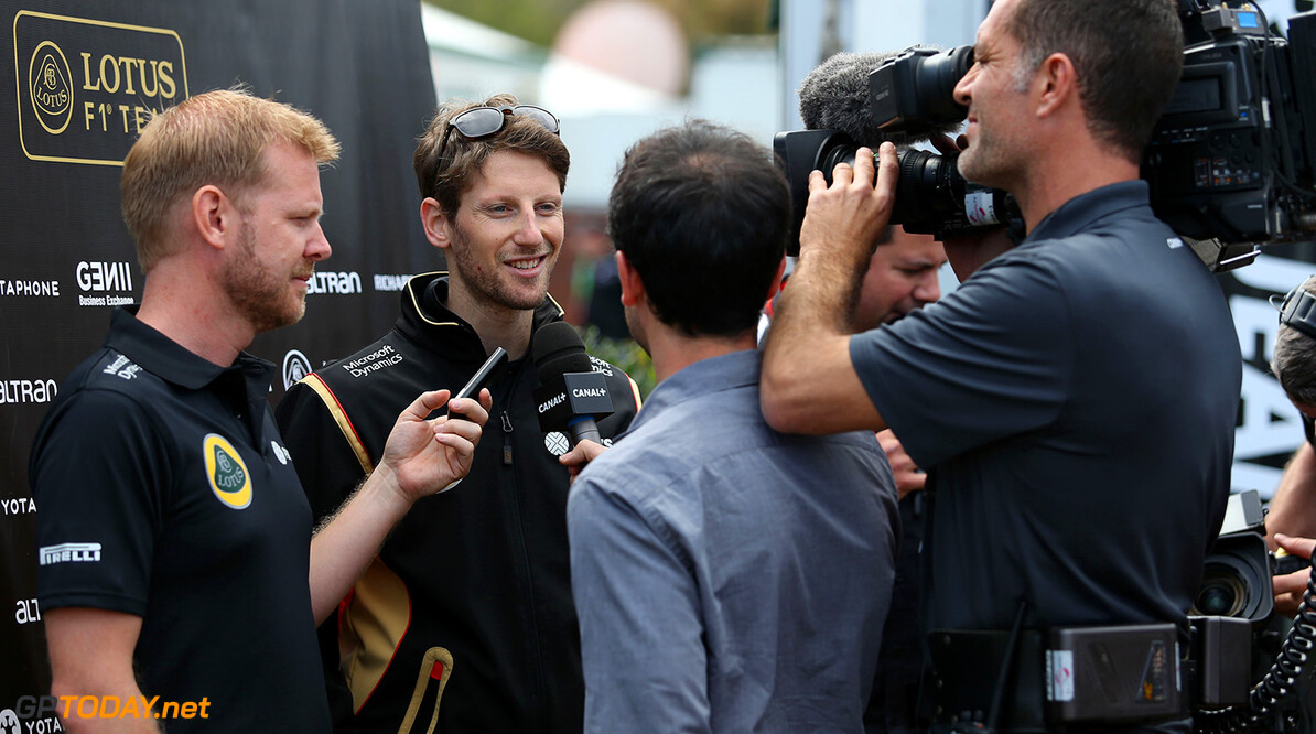 Formula One World Championship Romain Grosjean (FRA) Lotus F1 Team with the media.