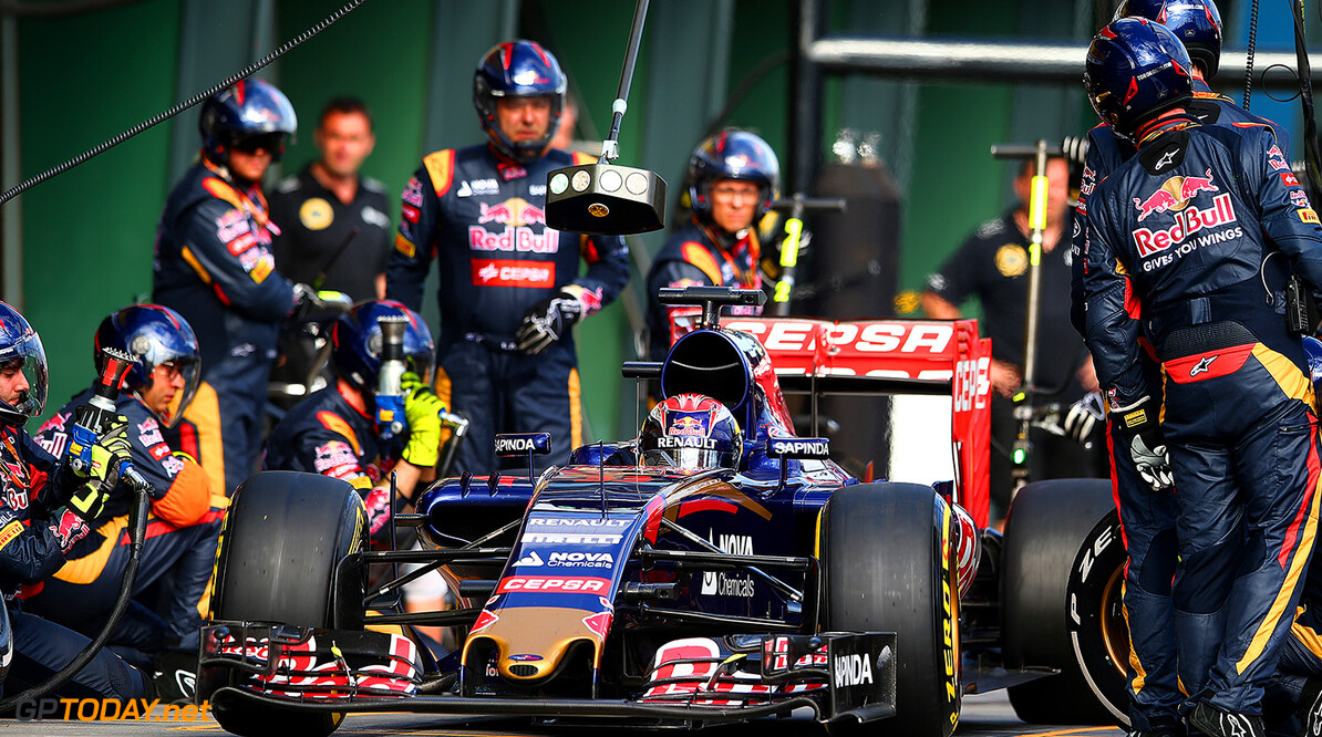 MELBOURNE, AUSTRALIA - MARCH 15:  Max Verstappen of Netherlands and Scuderia Toro Rosso makes a pit stop during the Australian Formula One Grand Prix at Albert Park on March 15, 2015 in Melbourne, Australia.  (Photo by Mark Thompson/Getty Images) *** Local Caption *** Max Verstappen Australian F1 Grand Prix Mark Thompson Melbourne Australia  Formula One Racing formula 1 Auto Racing Formula 1 Australian Grand Prix Australian Formula One Grand Prix Formula One Grand Prix Australia F1 Grand Prix