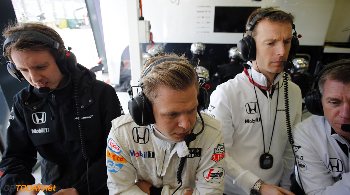 Kevin Magnussen in the garage.  Steven Tee