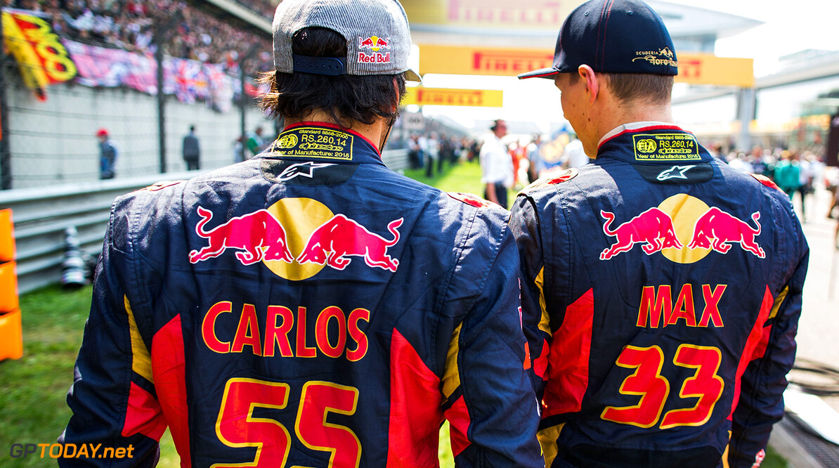 527734581PF018_F1_Grand_Pri SHANGHAI, CHINA - APRIL 12:  Carlos Sainz of Spain and Max Verstappen of The Netherlands both of Scuderia Toro Rosso during the Formula One Grand Prix of China at Shanghai International Circuit on April 12, 2015 in Shanghai, China.  (Photo by Peter Fox/Getty Images) *** Local Caption *** Carlos Sainz; Max Verstappen F1 Grand Prix of China Peter Fox Shanghai China  Formula One Racing formula 1 Auto Racing Formula 1 Grand Prix of China Chinese Formula One Grand Prix Formula One Grand Prix