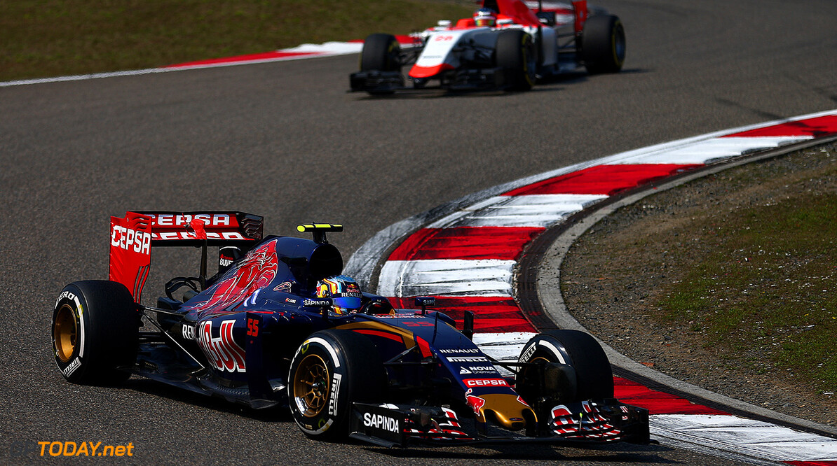 SHANGHAI, CHINA - APRIL 12:  Carlos Sainz of Spain and Scuderia Toro Rosso drives during the Formula One Grand Prix of China at Shanghai International Circuit on April 12, 2015 in Shanghai, China.  (Photo by Dan Istitene/Getty Images) *** Local Caption *** Carlos Sainz F1 Grand Prix of China Dan Istitene Shanghai China  Formula One Racing formula 1 Auto Racing Formula 1 Grand Prix of China Chinese Formula One Grand Prix Formula One Grand Prix