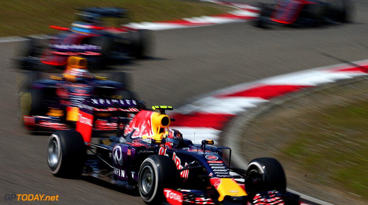 SHANGHAI, CHINA - APRIL 12:  Daniil Kvyat of Russia and Infiniti Red Bull Racing drives ahead of team-mate Daniel Ricciardo of Australia and Infiniti Red Bull Racing during the Formula One Grand Prix of China at Shanghai International Circuit on April 12, 2015 in Shanghai, China.  (Photo by Dan Istitene/Getty Images) // Getty Images/Red Bull Content Pool // P-20150412-00104 // Usage for editorial use only // Please go to www.redbullcontentpool.com for further information. //  F1 Grand Prix of China Dan Istitene Shanghai China  P-20150412-00104