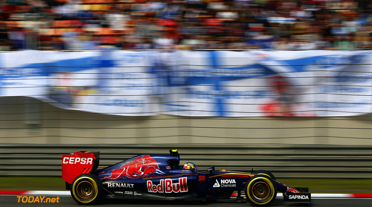 SHANGHAI, CHINA - APRIL 11:  Carlos Sainz of Spain and Scuderia Toro Rosso drives during qualifying for the Formula One Grand Prix of China at Shanghai International Circuit on April 11, 2015 in Shanghai, China.  (Photo by Clive Mason/Getty Images) *** Local Caption *** Carlos Sainz F1 Grand Prix of China - Qualifying Clive Mason Shanghai China  Formula One Racing formula 1 Auto Racing Formula 1 Grand Prix of China Chinese Formula One Grand Prix Formula One Grand Prix