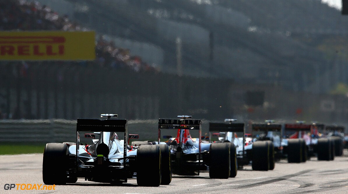 SHANGHAI, CHINA - APRIL 12:  Cars line up on the grid before the Formula One Grand Prix of China at Shanghai International Circuit on April 12, 2015 in Shanghai, China.  (Photo by Clive Mason/Getty Images) F1 Grand Prix of China Clive Mason Shanghai China  Formula One Racing formula 1 Auto Racing Formula 1 Grand Prix of China Chinese Formula One Grand Prix Formula One Grand Prix