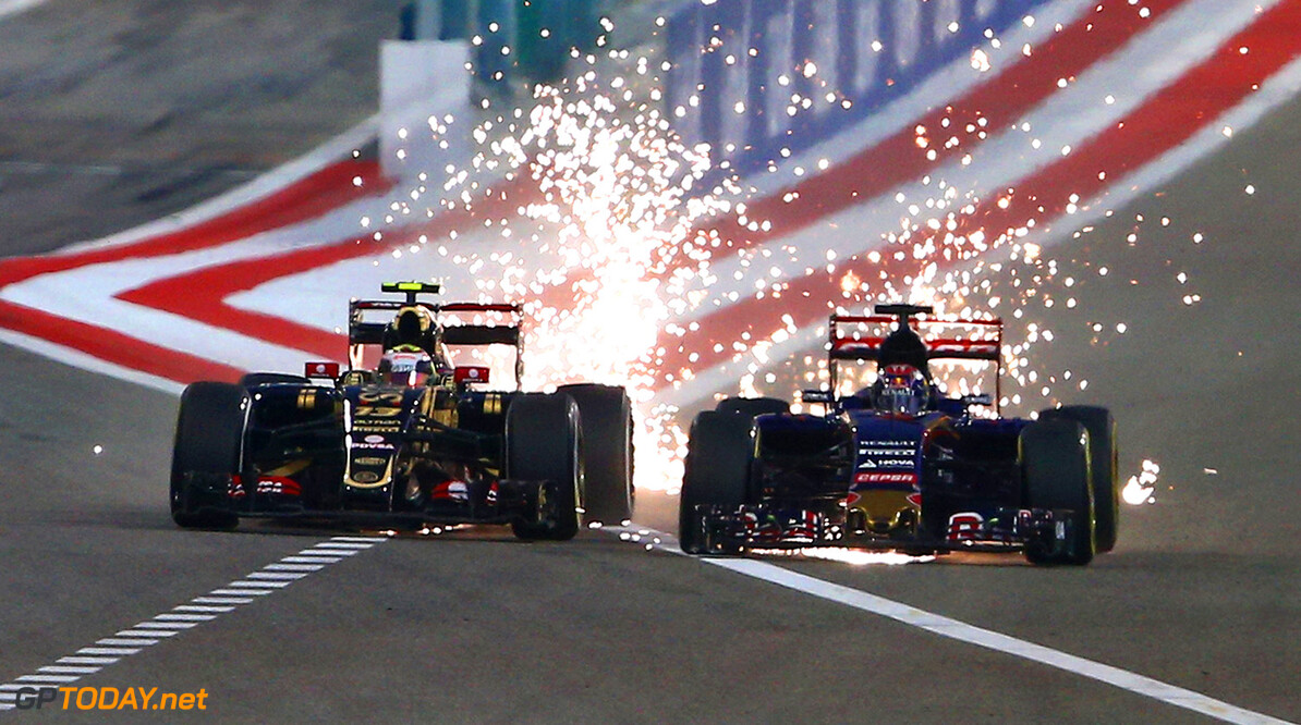 BAHRAIN, BAHRAIN - APRIL 19:  (L-R) Pastor Maldonado of Venezuela and Lotus and Max Verstappen of Netherlands and Scuderia Toro Rosso drive during the Bahrain Formula One Grand Prix at Bahrain International Circuit on April 19, 2015 in Bahrain, Bahrain.  (Photo by Mark Thompson/Getty Images) *** Local Caption *** Pastor Maldonado;Max Verstappen F1 Grand Prix of Bahrain Mark Thompson Bahrain Bahrain  formula 1 Formula One Racing Auto Racing Formula 1 Grand Prix of Bahrain Bahrain Formula One Grand Prix Formula One Grand Prix