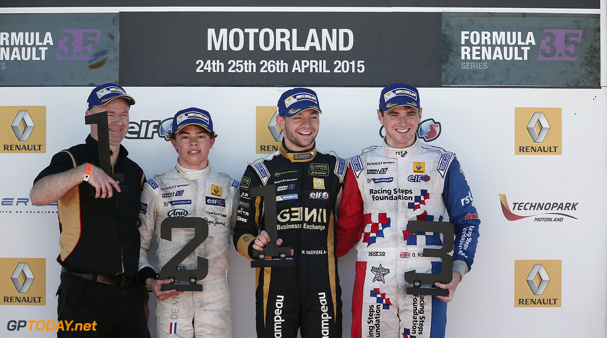VAXIVIERE Matthieu (FRA) Lotus (CZE) ambiance portrait podium DE_VRIES Nyck (NED) and ROWLAND Oliver (GBR) during the 2015 World Series by Renault from April 24th to 26th 2015, at Motorland Aragon, Spain. Photo Jean Michel Le Meur / DPPI. AUTO - WSR MOTORLAND ARAGON 2015 Jean Michel Le Meur Alcaniz Spain  2015 Auto Car CHAMPIONNAT ESPAGNE Europe FORMULA RENAULT FORMULES FR FR 3.5 MONOPLACE Motorsport Race RENAULT SPORT series Sport UNIPLACE VOITURES WORLD WORLD SERIES BY RENAULT WSR 2.0