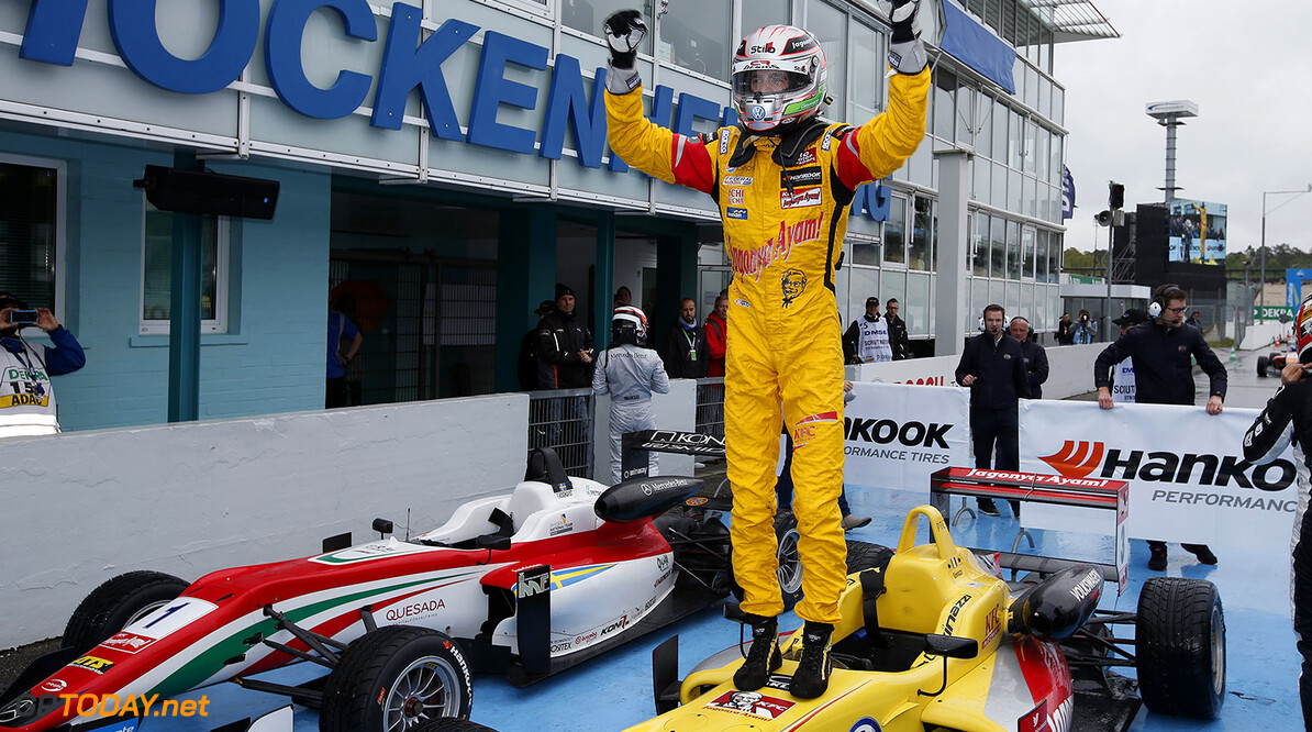 FIA Formula 3 European Championship, round 2, race 1, Hockenheim Parc ferme, 3 Antonio Giovinazzi (ITA, Jagonya Ayam with Carlin, Dallara F312 - Volkswagen), FIA Formula 3 European Championship, round 2, race 1, Hockenheim (GER) - 30. April - 3. May 2015 FIA Formula 3 European Championship, round 2, race 1, Hockenheim (GER) Thomas Suer Hockenheim Germany