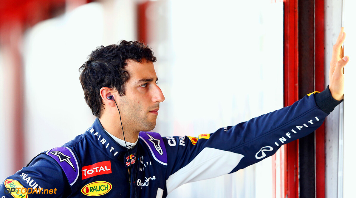 MONTMELO, SPAIN - MAY 08:  Daniel Ricciardo of Australia and Infiniti Red Bull Racing looks on in the garage during practice for the Spanish Formula One Grand Prix at Circuit de Catalunya on May 8, 2015 in Montmelo, Spain.  (Photo by Paul Gilham/Getty Images) // Getty Images/Red Bull Content Pool // P-20150508-00408 // Usage for editorial use only // Please go to www.redbullcontentpool.com for further information. //  Spanish F1 Grand Prix - Practice Paul Gilham Barcelona (City) Spain  P-20150508-00408