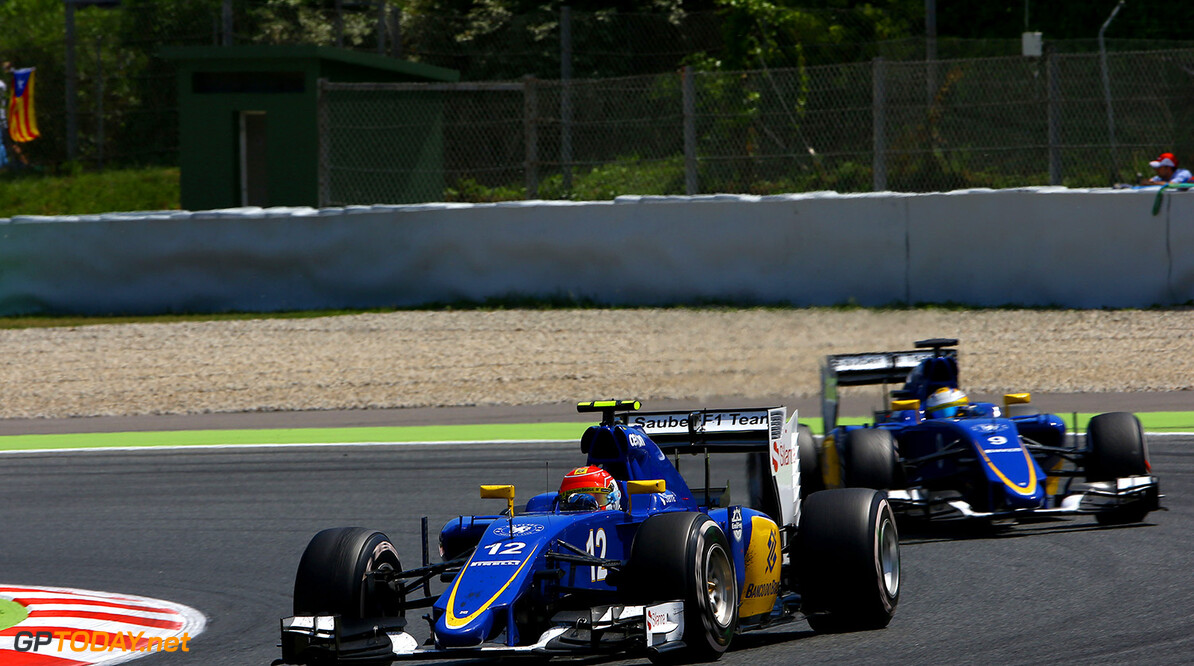 Spanish GP Race 10/05/15 Felipe Nasr (BRA), Sauber F1 Team. Circuit de Catalunya.  Spanish GP Race 10/05/15 Jean Francois Galeron Montmelo Spain  F1 Formula One 2015 Action Nasr Sauber