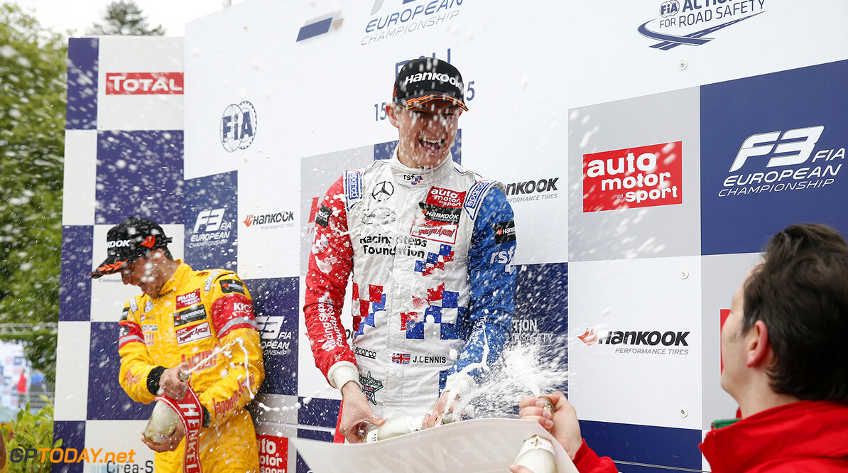 FIA Formula 3 European Championship, round 3, race 1, Pau Prize giving ceremony, 2 Jake Dennis (GBR, Prema Powerteam, Dallara F312 - Mercedes-Benz), FIA Formula 3 European Championship, round 3, race 1, Pau (FRA) - 15. - 17. May 2015 FIA Formula 3 European Championship, round 3, race 1, Pau (FRA) Thomas Suer Pau France