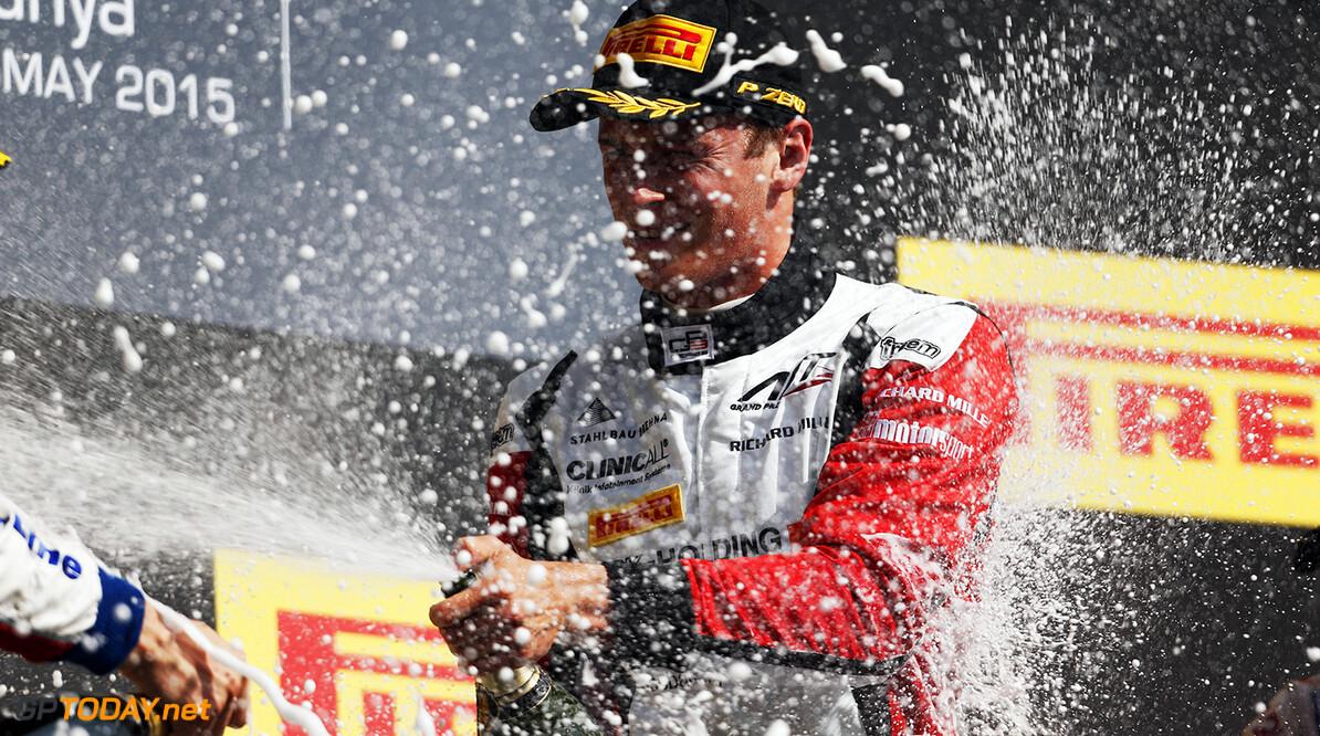 2015 GP3 Series Round 1. Circuit de Catalunya, Barcelona, Spain. Sunday 10 May 2015. Podium. Marvin Kirchhofer (GER, ART Grand Prix). Photo: Zak Mauger/GP3 Series Media Service. ref: Digital Image _L0U5391   Zak Mauger    Race Two 2