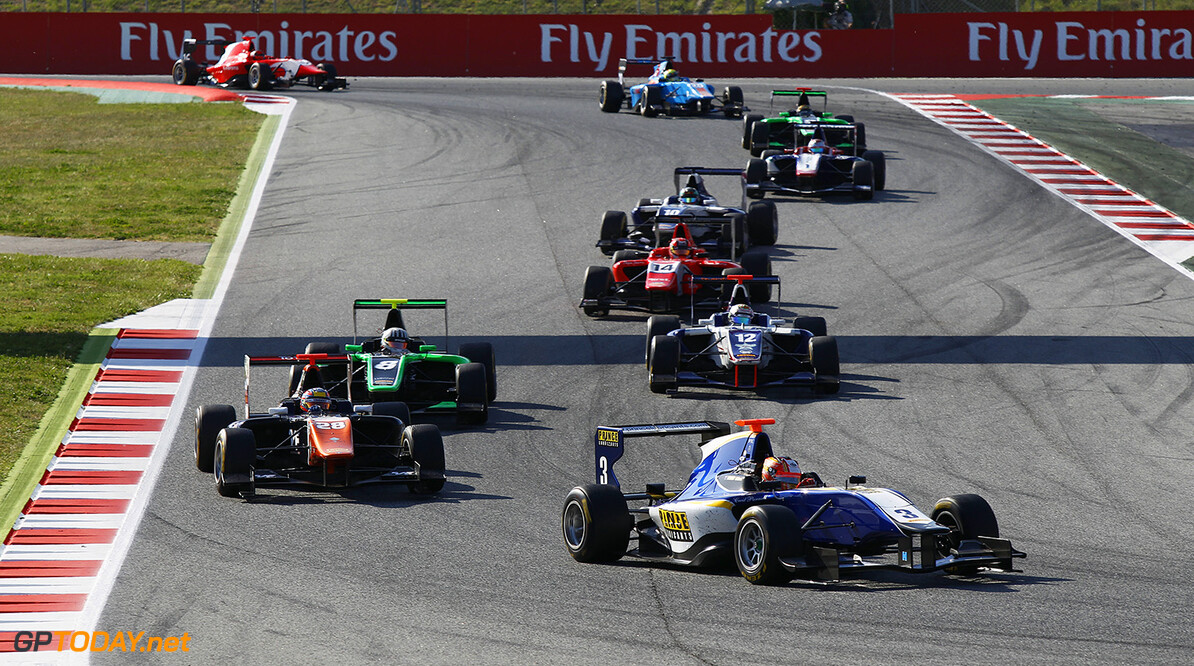 2015 GP3 Series Round 1. Circuit de Catalunya, Barcelona, Spain.  Saturday 9 May 2015 Mitchell Gilbert (AUS, Carlin) leads Oscar Tunjo (COL, Trident)  Photo: Sam Bloxham/GP3 Media Service ref: Digital Image _G7C3192   Sam Bloxham    Race 1