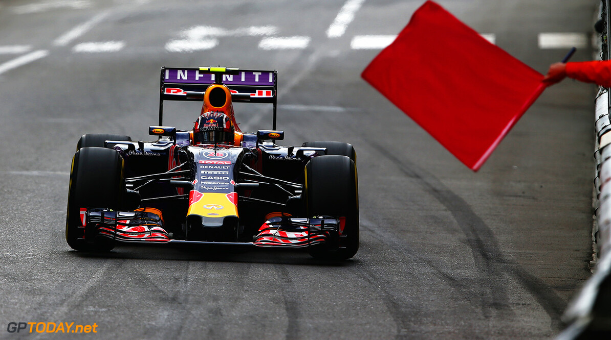 MONTE-CARLO, MONACO - MAY 21:  Daniil Kvyat of Russia and Infiniti Red Bull Racing drives on his way back to the pits as the session is red-flagged during practice for the Monaco Formula One Grand Prix at Circuit de Monaco on May 21, 2015 in Monte-Carlo, Monaco.  (Photo by Dan Istitene/Getty Images) // Getty Images/Red Bull Content Pool // P-20150521-00352 // Usage for editorial use only // Please go to www.redbullcontentpool.com for further information. //  F1 Grand Prix of Monaco - Practice Dan Istitene Monte-Carlo (City) Monaco  P-20150521-00352
