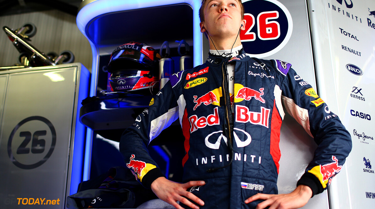MONTE-CARLO, MONACO - MAY 21:  Daniil Kvyat of Russia and Infiniti Red Bull Racing prepares in the garage during practice for the Monaco Formula One Grand Prix at Circuit de Monaco on May 21, 2015 in Monte-Carlo, Monaco.  (Photo by Dan Istitene/Getty Images) // Getty Images/Red Bull Content Pool // P-20150521-00200 // Usage for editorial use only // Please go to www.redbullcontentpool.com for further information. //  F1 Grand Prix of Monaco - Practice Dan Istitene Monte-Carlo (City) Monaco  P-20150521-00200