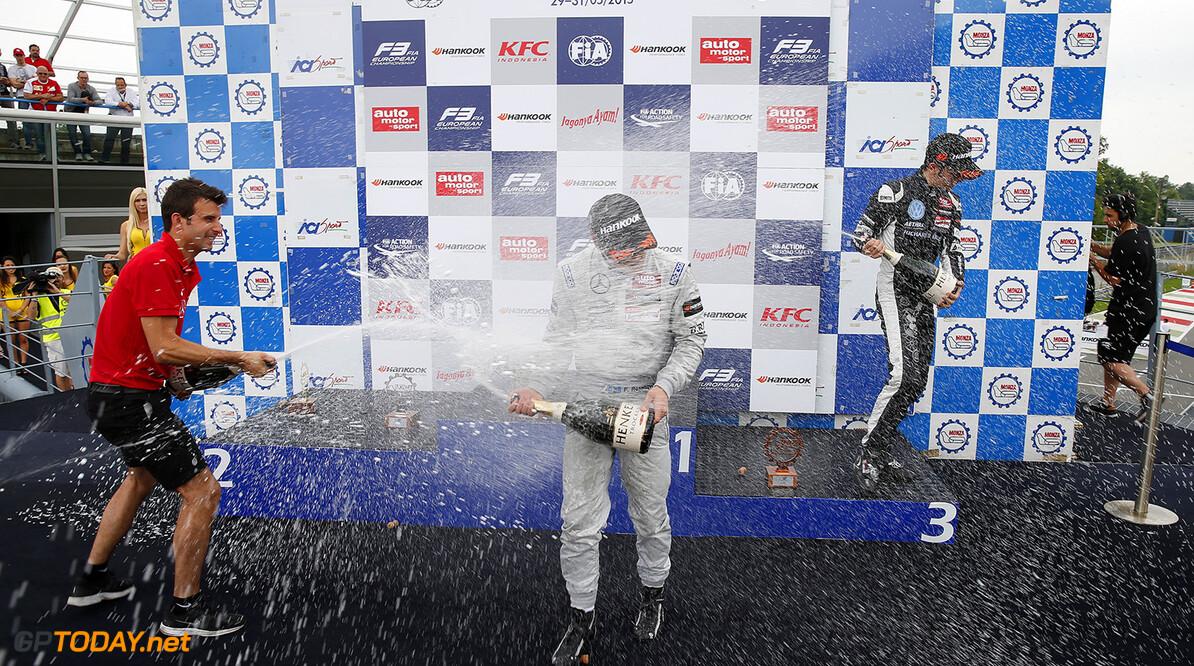 FIA Formula 3 European Championship, round 4, race 3, Monza Prize giving ceremony, 2 Jake Dennis (GBR, Prema Powerteam, Dallara F312 - Mercedes-Benz), 1 Felix Rosenqvist (SWE, Prema Powerteam, Dallara F312 - Mercedes-Benz), 7 Charles Leclerc (MCO, Van Amersfoort Racing, Dallara F312 - Volkswagen), FIA Formula 3 European Championship, round 4, race 3, Monza (ITA) - 29. - 31. May 2015 FIA Formula 3 European Championship, round 4, race 3, Monza (ITA) Thomas Suer Monza Italy