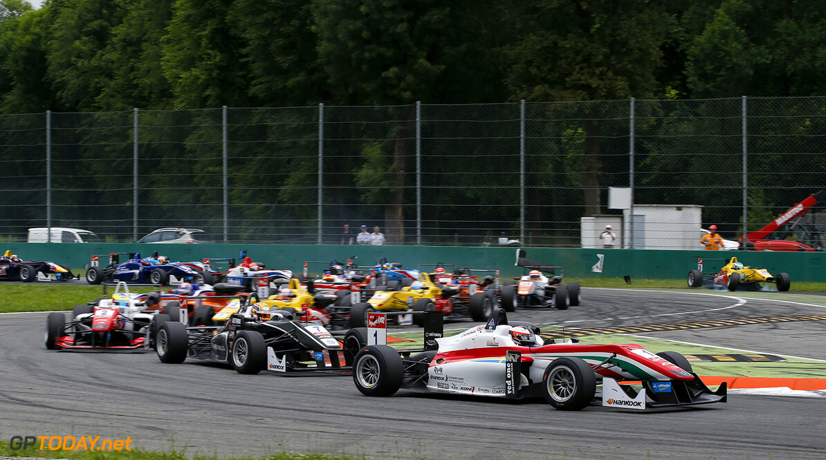 FIA Formula 3 European Championship, round 4, race 3, Monza Start of the race, 1 Felix Rosenqvist (SWE, Prema Powerteam, Dallara F312 - Mercedes-Benz) taking the lead from 7 Charles Leclerc (MCO, Van Amersfoort Racing, Dallara F312 - Volkswagen), 2 Jake Dennis (GBR, Prema Powerteam, Dallara F312 - Mercedes-Benz), FIA Formula 3 European Championship, round 4, race 3, Monza (ITA) - 29. - 31. May 2015 FIA Formula 3 European Championship, round 4, race 3, Monza (ITA) Thomas Suer Monza Italy