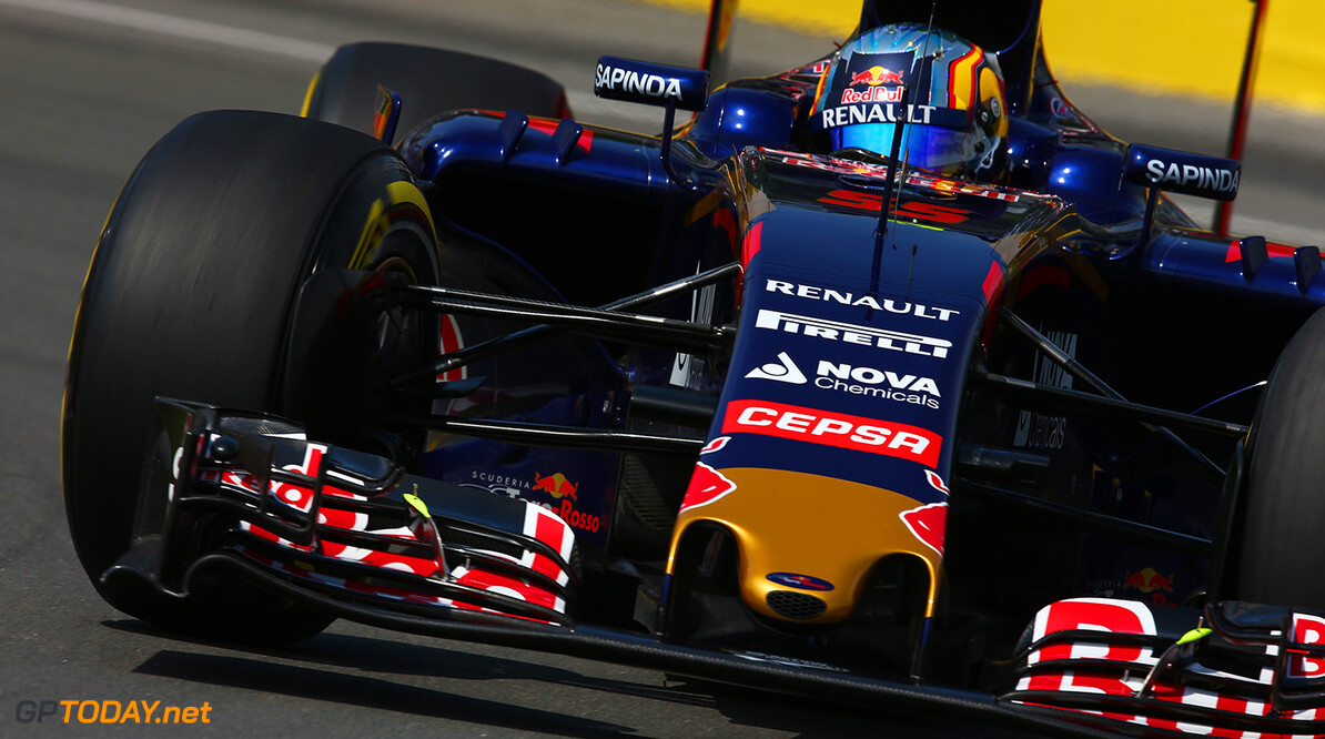 MONTREAL, QC - JUNE 05:  Carlos Sainz of Spain and Scuderia Toro Rosso drives during practice for the Canadian Formula One Grand Prix at Circuit Gilles Villeneuve on June 5, 2015 in Montreal, Canada.  (Photo by Clive Mason/Getty Images) // Getty Images/Red Bull Content Pool // P-20150605-10206 // Usage for editorial use only // Please go to www.redbullcontentpool.com for further information. //  Canadian F1 Grand Prix - Practice Clive Mason Montreal (City) Canada  P-20150605-10206