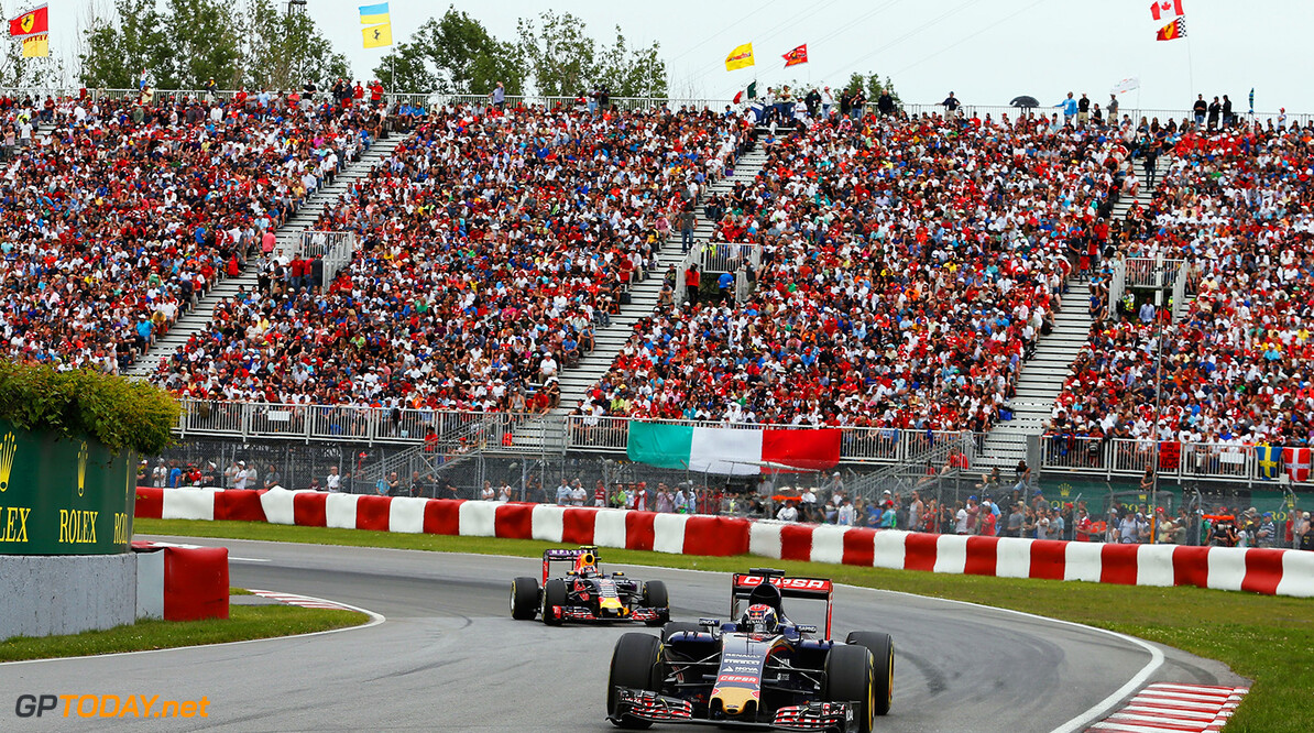 MONTREAL, QC - JUNE 07:  Max Verstappen of Netherlands and Scuderia Toro Rosso and Daniil Kvyat of Russia and Infiniti Red Bull Racing drive during the Canadian Formula One Grand Prix at Circuit Gilles Villeneuve on June 7, 2015 in Montreal, Canada.  (Photo by Charles Coates/Getty Images) // Getty Images/Red Bull Content Pool // P-20150608-00075 // Usage for editorial use only // Please go to www.redbullcontentpool.com for further information. //  Canadian F1 Grand Prix Charles Coates Montreal (City) Canada  P-20150608-00075