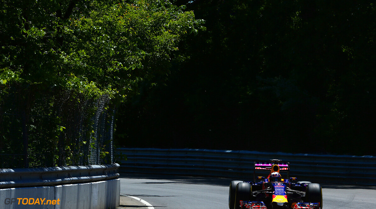 MONTREAL, QC - JUNE 06:  Daniel Ricciardo of Australia and Infiniti Red Bull Racing drives during qualifying for the Canadian Formula One Grand Prix at Circuit Gilles Villeneuve on June 6, 2015 in Montreal, Canada.  (Photo by Clive Mason/Getty Images) // Getty Images/Red Bull Content Pool // P-20150606-00489 // Usage for editorial use only // Please go to www.redbullcontentpool.com for further information. //  Canadian F1 Grand Prix - Qualifying Clive Mason Montreal (City) Canada  P-20150606-00489