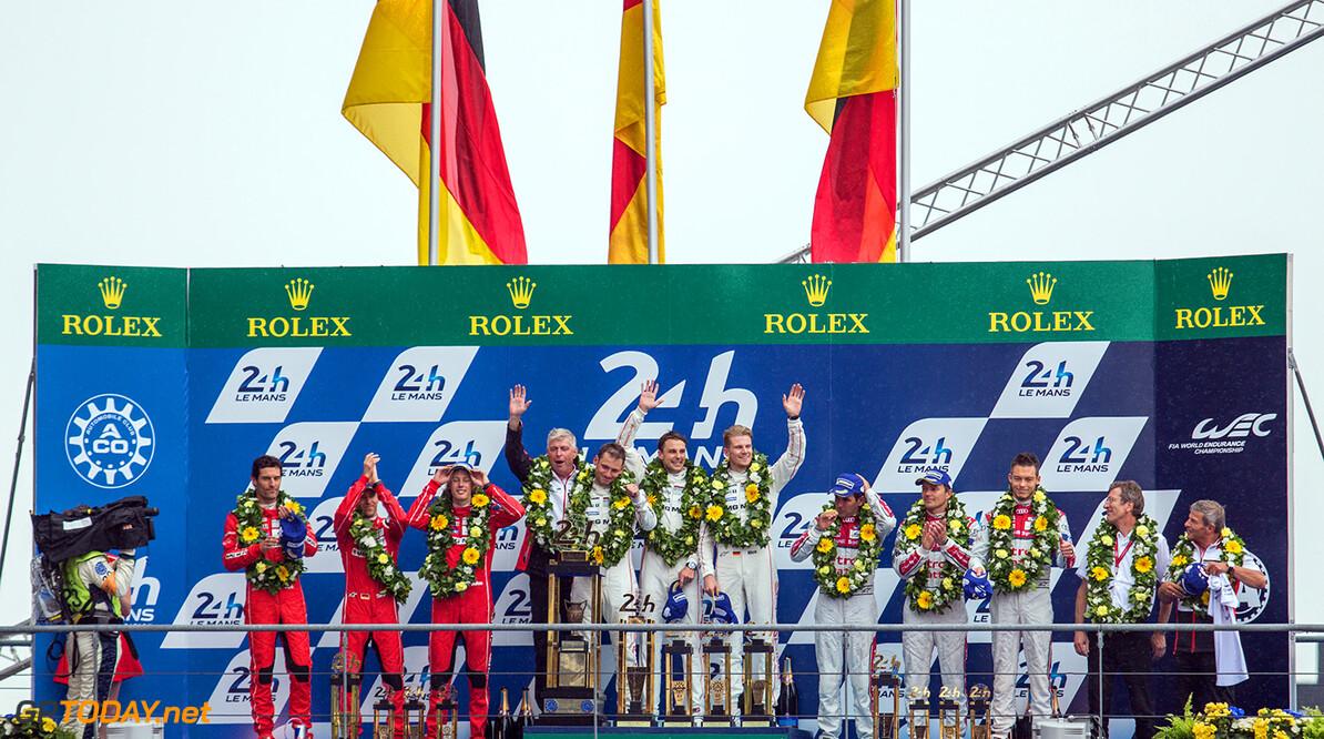 ND5_6126.jpg Podium, LMP1 - Le Mans 24 Hours at Circuit Des 24 Heures - Le Mans - France  Podium, LMP1 - Le Mans 24 Hours at Circuit Des 24 Heures - Le Mans - France  Nick Dungan Le Mans France  Adrenal Media Le Mans 24 Hours Le Mans France FIA WEC