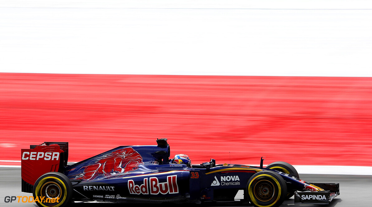 SPIELBERG, AUSTRIA - JUNE 19:  Max Verstappen of Netherlands and Scuderia Toro Rosso drives during practice for the Formula One Grand Prix of Austria at Red Bull Ring on June 19, 2015 in Spielberg, Austria.  (Photo by Charles Coates/Getty Images) // Getty Images/Red Bull Content Pool // P-20150619-00376 // Usage for editorial use only // Please go to www.redbullcontentpool.com for further information. //  F1 Grand Prix of Austria - Practice Charles Coates Spielberg Bei Knittelfeld Austria  P-20150619-00376