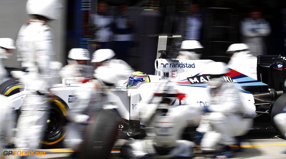 Circuit Gilles Villeneuve, Montreal, Canada. Sunday 21 June 2015. Felipe Massa, Williams FW37 Mercedes, makes a pit stop during the race. Photo: Glenn Dunbar/Williams ref: Digital Image W89P5495      Action Pit Stops