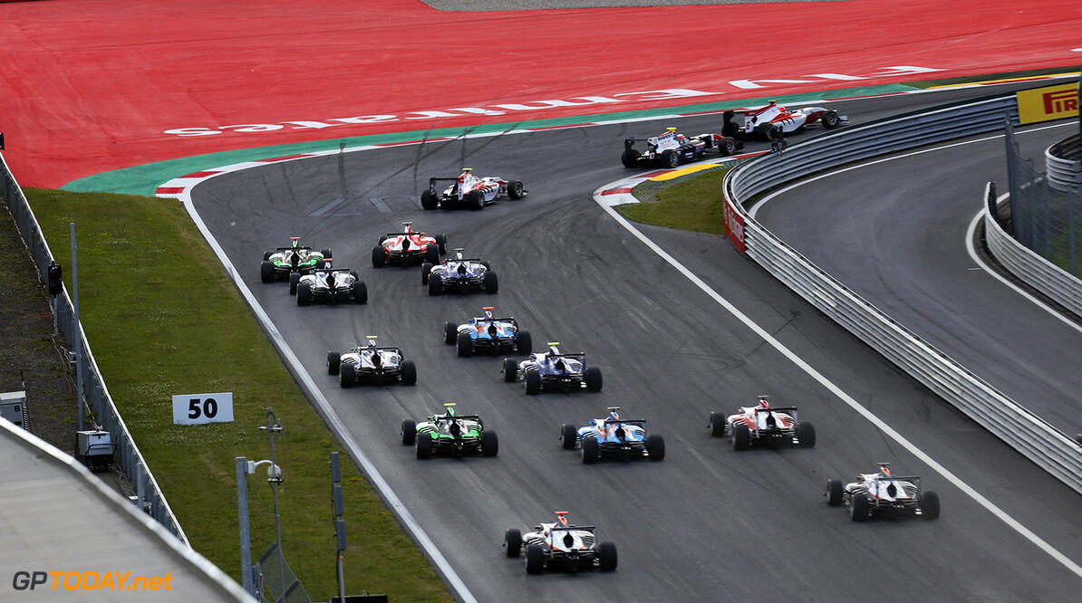 2015 GP3 Series Round 2. Red Bull Ring, Spielberg, Austria. Saturday 20 June 2015. Esteban Ocon (FRA, ART Grand Prix), leads Luca Ghiotto (ITA, Trident) & Marvin Kirchhofer (GER, ART Grand Prix) at the start Photo:  Alastair Staley/GP3 Media Service ref: Digital Image _79P7979  Alastair Staley    Race One