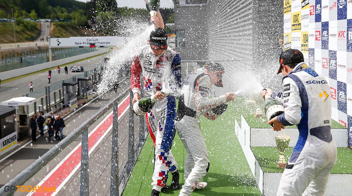 FIA Formula 3 European Championship, round 5, race 2, Spa-Franco Prize giving ceremony, 2 Jake Dennis (GBR, Prema Powerteam, Dallara F312 - Mercedes-Benz), 5 Santino Ferrucci (USA, kfzteile24 Mucke Motorsport, Dallara F312 - Mercedes-Benz), 23 Sergio Sette Camara (BRA, Motopark, Dallara F312 - Volkswagen), FIA Formula 3 European Championship, round 5, race 2, Spa-Francorchamps (BEL) - 19. - 21. June 2015 FIA Formula 3 European Championship, round 5, race 2, Spa-Francorchamps (BEL) Thomas Suer Spa-Francorchamps Belgium