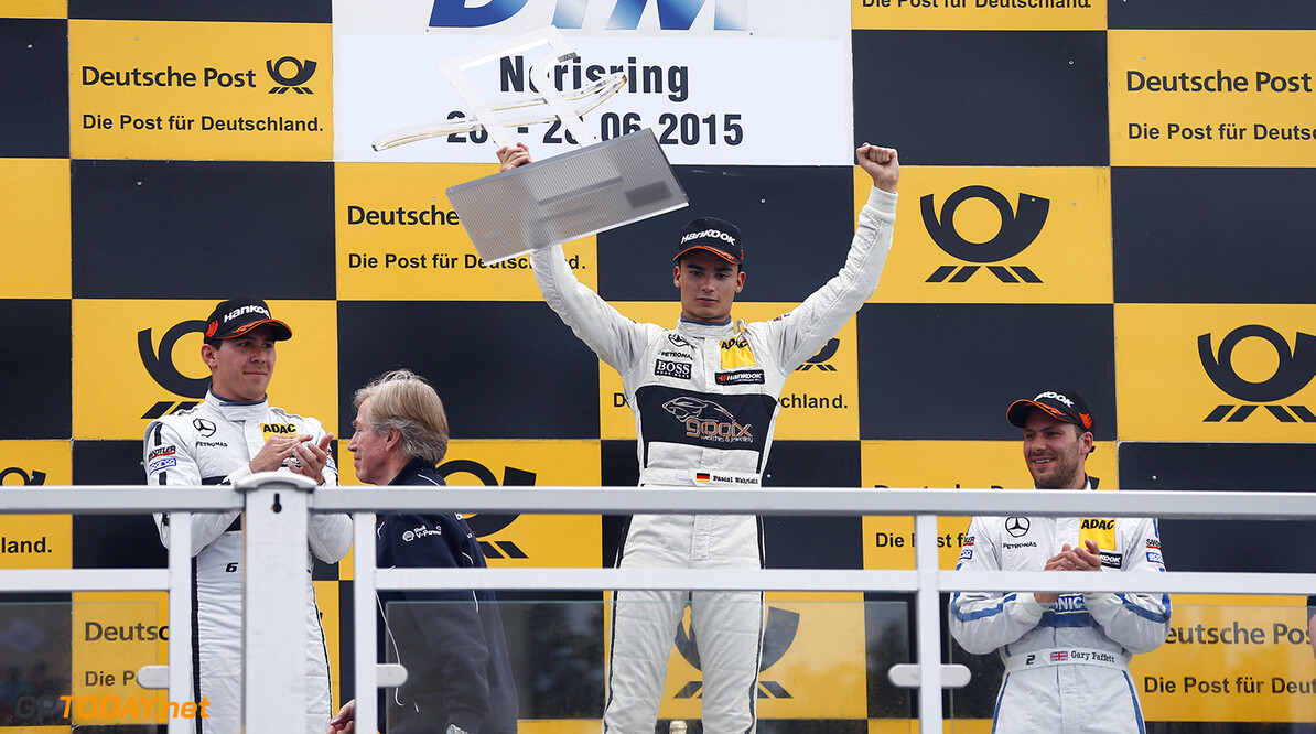 DTM Noris #6 Robert Wickens, Mercedes-AMG C63 DTM, #94 Pascal Wehrlein, Mercedes-AMG C63 DTM, #2 Gary Paffett, Mercedes-AMG C63 DTM Motorsports: DTM race Norisringring Juergen Tap / Hoch Zwei Nuernberg Germany  Motorsport - motor sport Partner01 Sieger - champion    Freude - joy    Jubel - celebration    Stimmung - mood    Siegerehrung - podium medal ceremony    Ehrung - honour    Personen - people    jubelt jubelnd celebrates freut freuend positiv Gewinner gewonnen