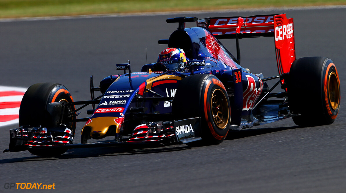 NORTHAMPTON, ENGLAND - JULY 03:  Max Verstappen of Netherlands and Scuderia Toro Rosso drives during practice for the Formula One Grand Prix of Great Britain at Silverstone Circuit on July 3, 2015 in Northampton, England.  (Photo by Mark Thompson/Getty Images) // Getty Images/Red Bull Content Pool // P-20150703-00435 // Usage for editorial use only // Please go to www.redbullcontentpool.com for further information. //  F1 Grand Prix of Great Britain - Practice Mark Thompson Silverstone United Kingdom  P-20150703-00435