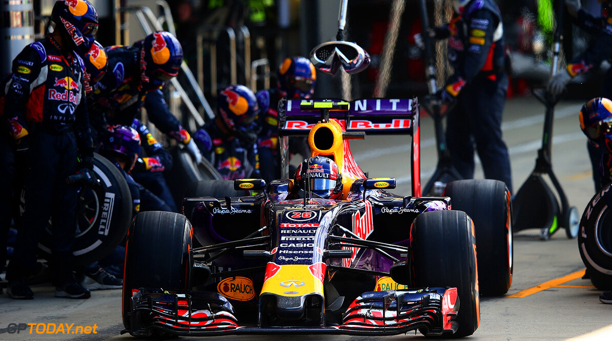 NORTHAMPTON, ENGLAND - JULY 05:  Daniil Kvyat of Russia and Infiniti Red Bull Racing makes a pit stop during the Formula One Grand Prix of Great Britain at Silverstone Circuit on July 5, 2015 in Northampton, England.  (Photo by Mark Thompson/Getty Images) // Getty Images/Red Bull Content Pool // P-20150705-00210 // Usage for editorial use only // Please go to www.redbullcontentpool.com for further information. //  F1 Grand Prix of Great Britain Mark Thompson Silverstone United Kingdom  P-20150705-00210