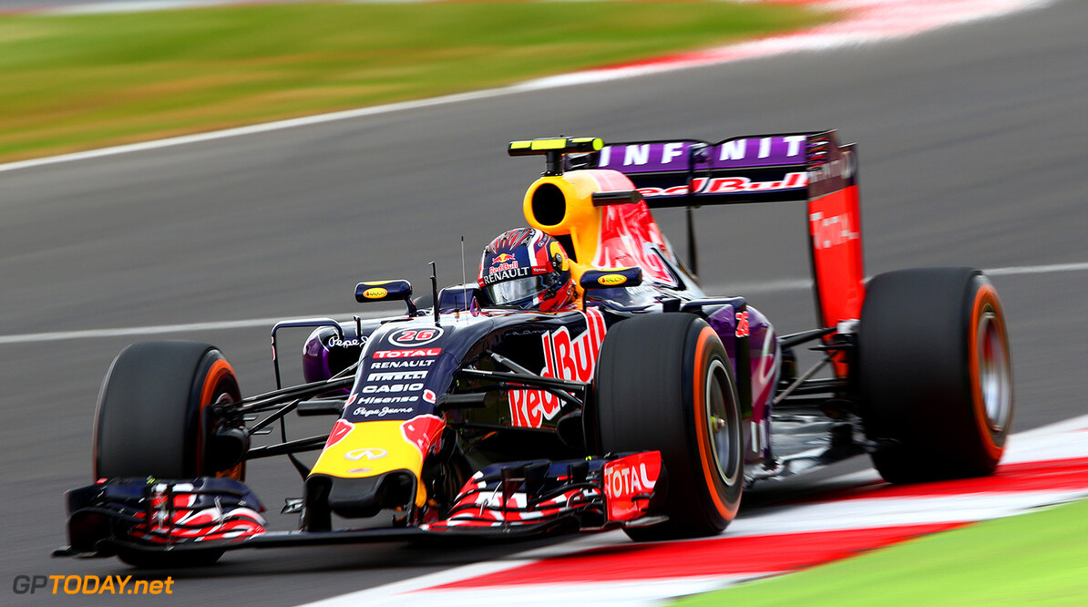 NORTHAMPTON, ENGLAND - JULY 04:  Daniil Kvyat of Russia and Infiniti Red Bull Racing drives during final practice for the Formula One Grand Prix of Great Britain at Silverstone Circuit on July 4, 2015 in Northampton, England.  (Photo by Mark Thompson/Getty Images) // Getty Images/Red Bull Content Pool // P-20150704-00173 // Usage for editorial use only // Please go to www.redbullcontentpool.com for further information. //  F1 Grand Prix of Great Britain - Qualifying Mark Thompson Silverstone United Kingdom  P-20150704-00173